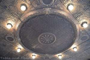 ceiling at the drive of the Crecent Hotel