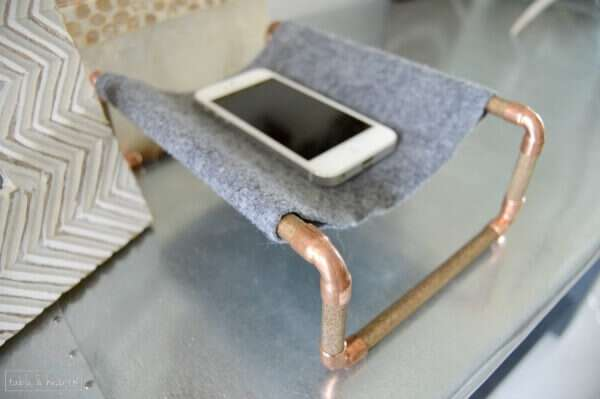 Cute copper and wood phone holder!