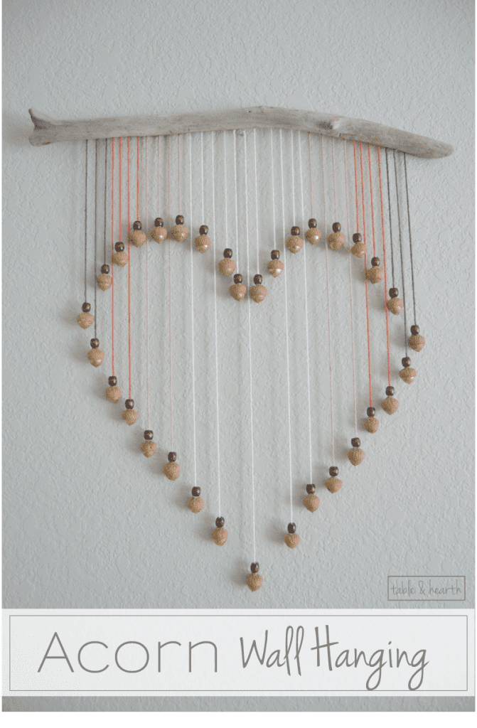 So cute! This wall art is so easy to do, just some yarn, some acorns, and a branch!
