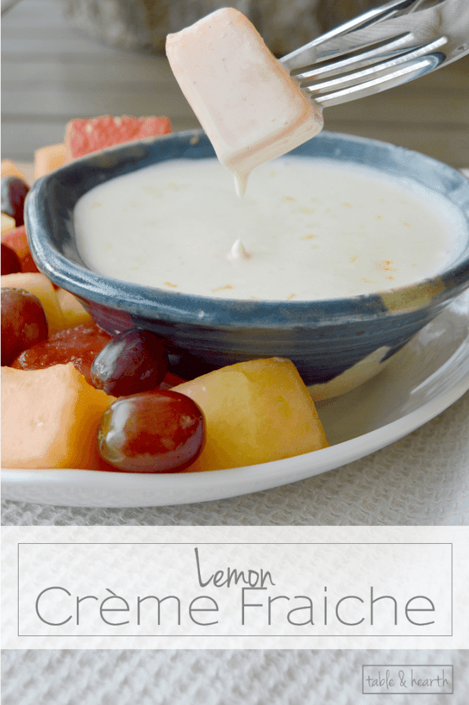 Yum! Easy and delicious Lemon Creme Fraiche fruit dip.