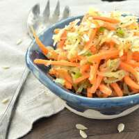 Healthy AND easy! This delicious Asian-style coleslaw is made with spaghetti squash instead of cabbage!