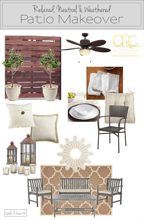 Creating a rustic, weathered, coastal, and relaxed patio space full of texture and beautiful neutral colors.
