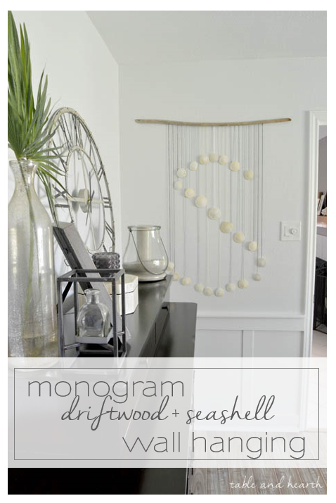 Seashell Monogram Wall Hanging - Put those beach treasures, or any of nature's treasures, to good use and showcase them with this easy monogram wall hanging! www.tableandhearth.com