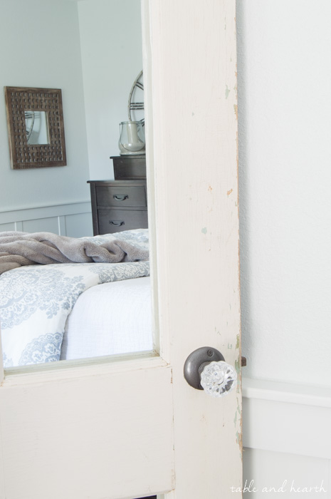 Beautiful Farmhouse Full Length Mirror! A chippy vintage door was easily transformed into a floor mirror. www.tableandhearth.com
