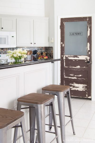 Bring some vintage charm to your home with this rustic laundry door update!!