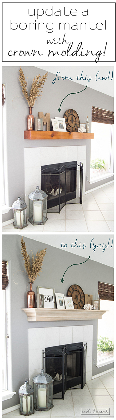 An easy DIY mantel update with crown molding! Perfect solution for that ugly boring mantel!