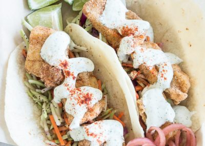These easy fried fish tacos are full of tangy flavor and are quick to make!