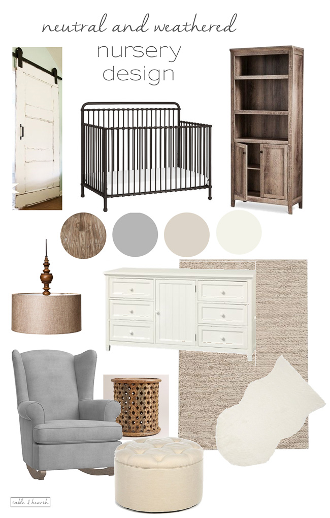 A calm, relaxing, and weathered neutral nursery design full of texture!