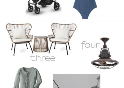 May First Week Favorites - modern patio set, stylish stroller, and outdoor fan