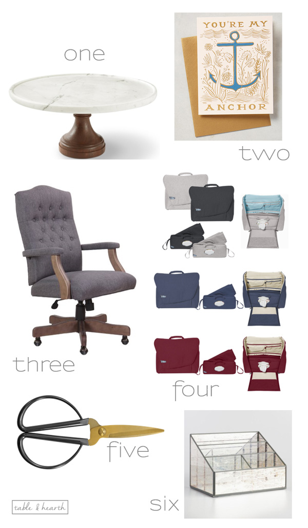 Six of my favorite finds from around the web lately, including an awesome diaper bag, cool desk chair, and cake stand!
