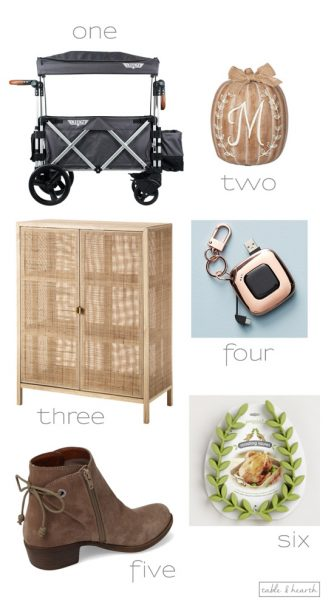 Six of my favorite finds lately including a fun stroller wagon, cute booties, and unique cabinet!