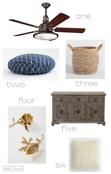 Six of my favorite finds lately, including a gorgeous sideboard and amazing nautical bronze ceiling fan!