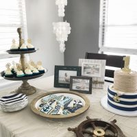 Love this classic navy and white nautical first birthday party!