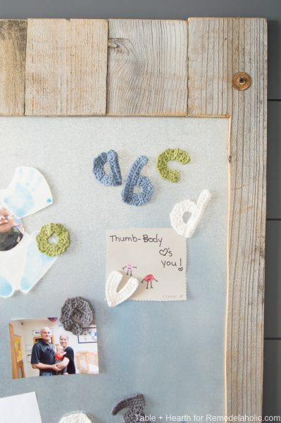 Show off the kiddo's masterpieces with this magnetic metal display board including crocheted alphabet letters! www.tableandhearth.com