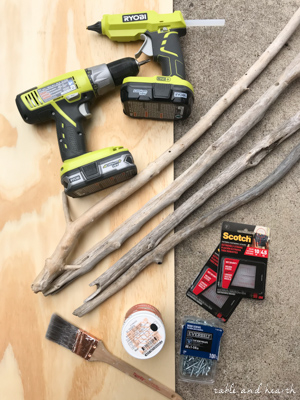 Supplies for making a Driftwood DIY Fireplace Cover! #fireplace #fireplacecover #driftwood