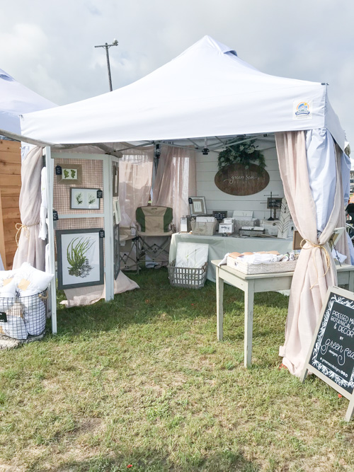 Beautiful coastal shabby chic vendor booth by Green Sea Designs! www.greenseadesigns.com