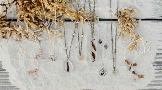 Amazing coastal botanical resin jewelry by Green Sea Designs! www.greenseadesigns.com
